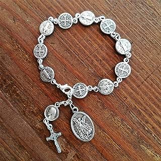 Rosary Bracelet/St Michael Chaplet/Saint Benedict San Benito Medals Catholic Gift