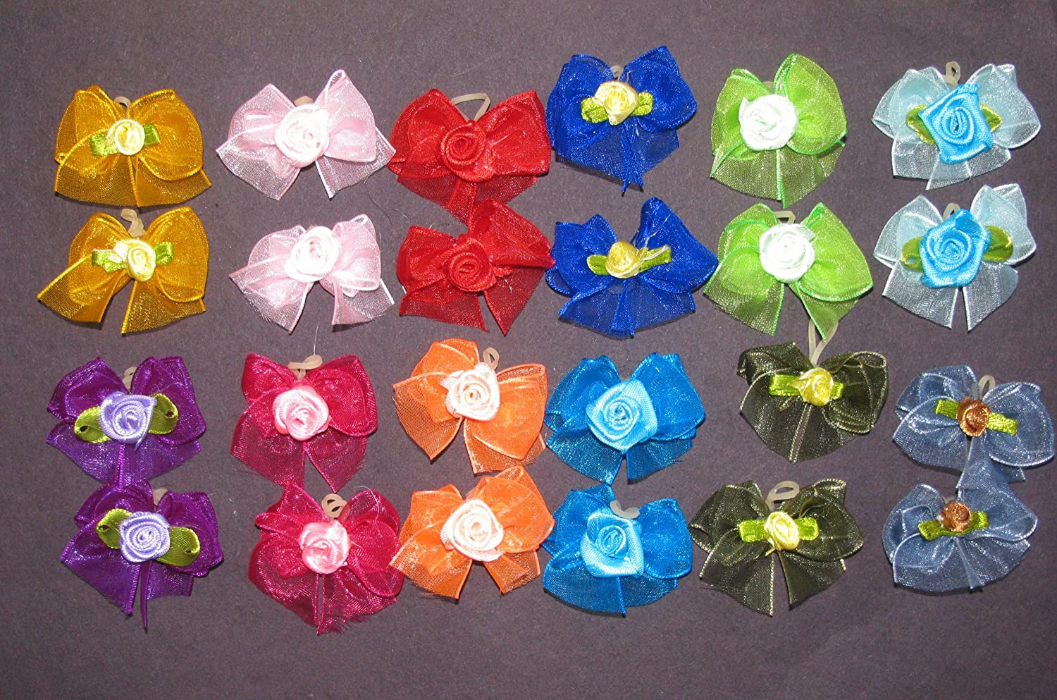 24 Dog Hair Bows  Double Layered with Center pink Decorations  12 Pairs of Different colors Handmade