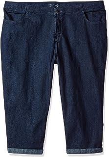 Riders by Lee Indigo Women's Plus Size Comfort Collection 4 Pocket Cuffed Denim Capri
