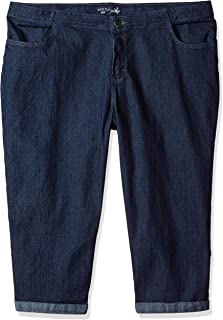 Riders by Lee Indigo Women's Plus Size Comfort Collection 4 Pocket Cuffed Denim Capri