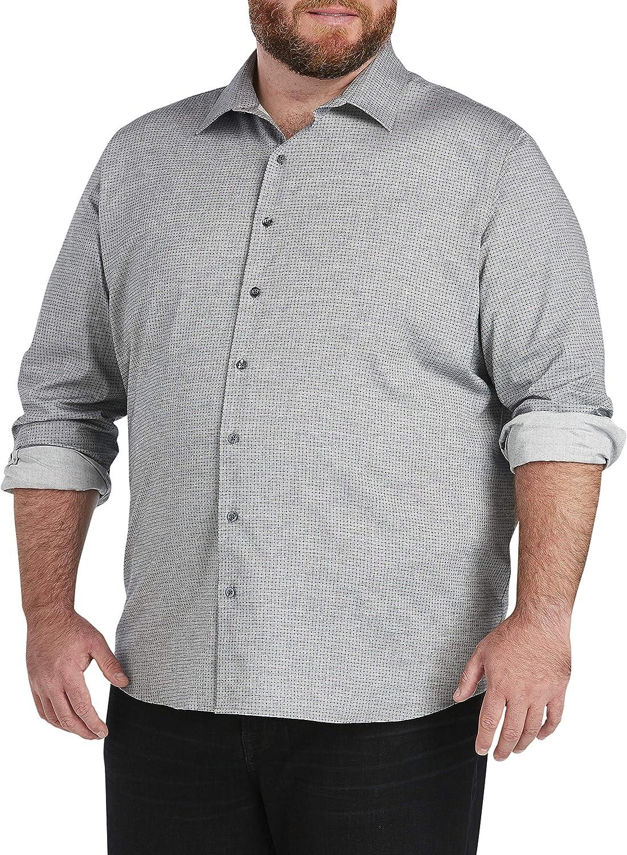 DXL Synrgy Big and Tall Grid Print Sport Shirt, Grey