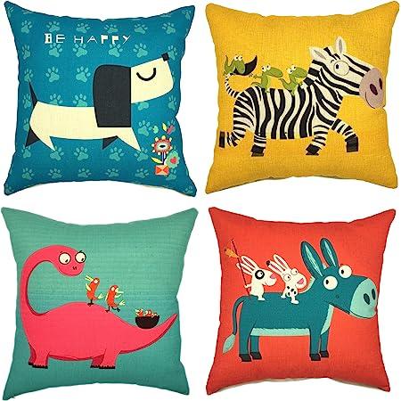 YOUR SMILE Children Series Cute Cartoon Animal Cotton Linen Decorative Throw Pillow Case Cushion Cover Pillowcase for Sofa 18 x 18 Inch, Set of 4