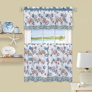 "Achim Home Furnishings CSTV36BL12 , Blue Coastal Tier and Valance Window Curtain Set, 58"" x 36"""