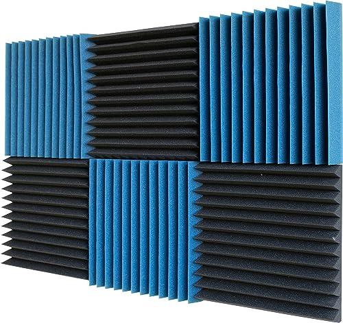 "2021 6 Pack- Ice Blue/Charcoal Acoustic Panels Studio Foam Wedges 2"" X 12"" discount lowest X 12"" sale"
