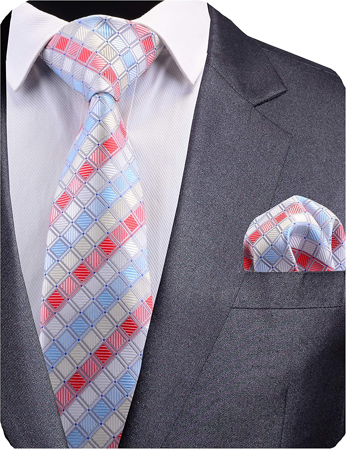 GUSLESON Mens Plaid Tie Wedding Necktie and Pocket Square Set