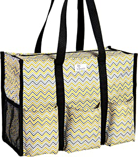 Pursetti Zip-Top Organizing Utility Tote Bag with Multiple Exterior & Interior Pockets for Working Women, Nurses, Teachers and Soccer Moms (Mustard Gray Chevron)