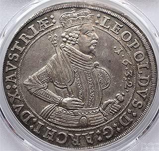 1632 AT Austria Austrian Knight Old Antique Large Silver Coin Thaler AU58 PCGS