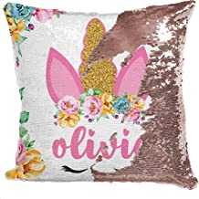 Unicorn Gifts Mermaid Sequin Throw Pillowcases | 9 Designs | Custom Magic Reversible Pillows w Your Name | Rose Gold Decorative Cushion, Pillow Cover Gifts for Girls - Personalized Colorful Home Decor