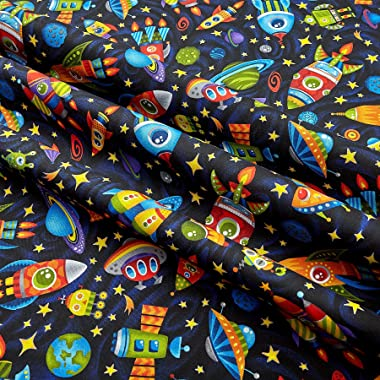 Fabri-Quilt Paintbrush Studios Launch Party Rockets Aliens and Planets Fabric, Black, Fabric By The Yard