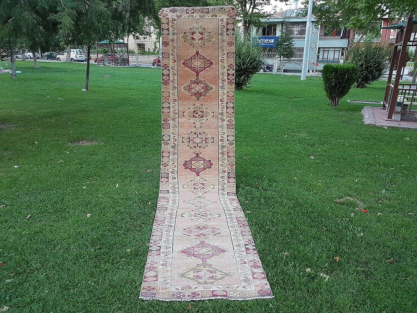 Vintage Anatolian Muted Oushak Rug, Wool Mediterranean Antique Carpet, Handmade Turkish Pastel Area Rug Runner 2.9 x 12.7 Ft (87 x 388 Cm)
