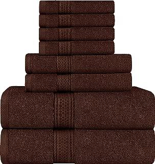 Utopia Towels 8 Piece Towel Set, Brown, 2 Bath Towels, 2 Hand Towels, and 4 Washcloths