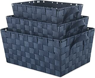 Whitmor Woven Strap Storage Baskets S/3-Navey, Navy
