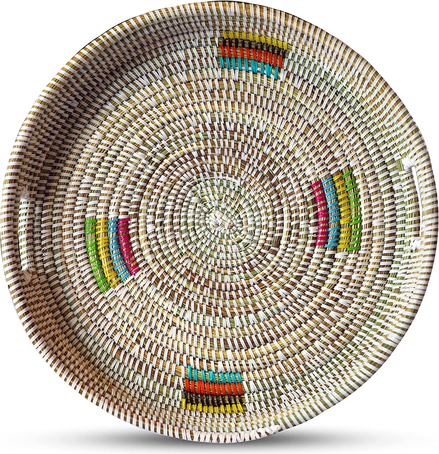 Round Woven Serving Tray with Handles Boho cheap Genuine Free Shipping Wicker Fruit Ba Bread