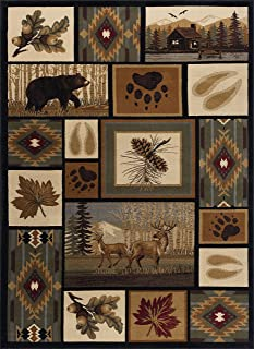 Northern Wildlife Novelty Lodge Pattern Multi-Color Rectangle Area Rug, 5' x 7'