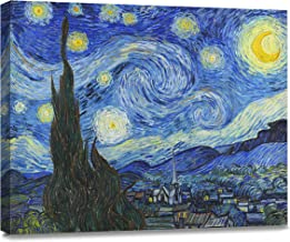 ArtKisser Painting Starry Night 1889 by Vincent Van Gogh Canvas Wall Art Modern Giclee Abstract Landscape Home Decor Wooden Framed Stretched Prints on Canvas Reproduction Ready to Hang 16