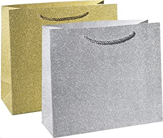 Haute Soiree - 4 Pack - Large Sized Luxurious High Quality Gift Bag Set with Rope Handles - Includes 2 Gold and 2 Silver Shimmering Sparkle Designs - Perfect for Wedding Favors, Birthday Parties