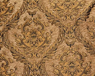 Chenille Renaissance,medallion Design. Home Decor, Upholstery, Sold By the Yard (Mocha/Gold)