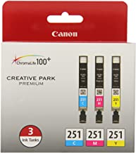 Canon CLI-251 3 Color Multi Pack Compatible to MG6320, iP7220 & MG5420, MX922, MG7120, MG6420, MG5520, iX6820, iP8720, MG7...