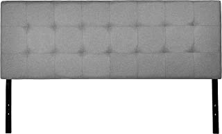 AmazonBasics Faux Linen Upholstered Tufted Headboard - Queen, Grey