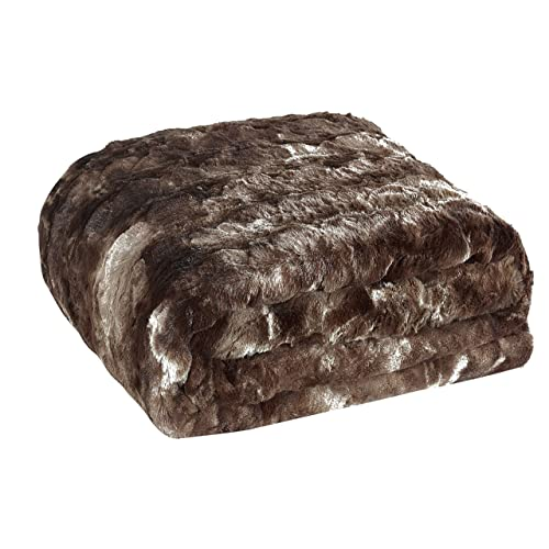 "Brielle Faux Fur Oversized Throw, 50"" by 70"", Tundra Swan Dark Brown"