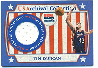 2000 Topps Team USA USArchival Tim Duncan #USAR7 Game Used Jersey Only 250 Printed $BV 80 - Basketball Card