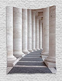 Ambesonne Pillar Tapestry, Theme Roman Columns Stone Pillars Old Architecture Theme Digital Image, Wall Hanging for Bedroom Living Room Dorm Decor, 40