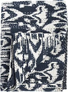 Two Pine Ikat Quilt - Navy - 2 Layer 100% Organic Cotton - Queen (90