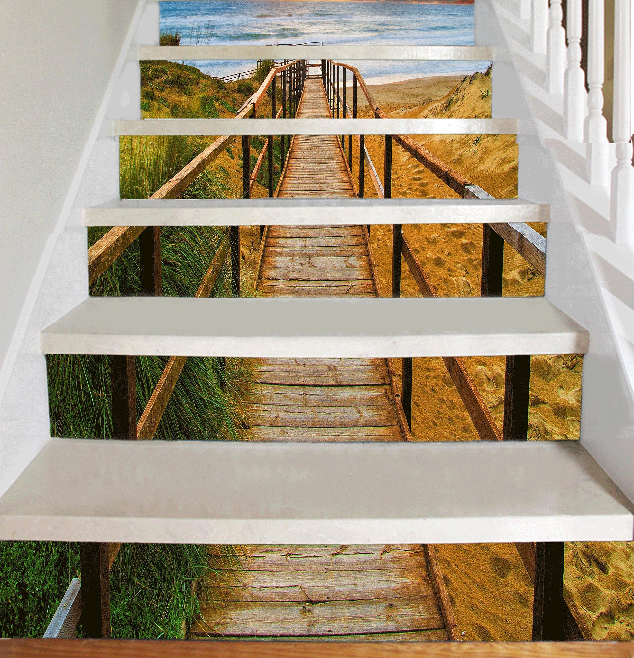 Tiras de vinilo decorativas para Escaleras de Escalera (Escalera al Mar) - Pelar y pegar - Etiqueta autoadhesiva - Decoración para el Hogar Bricolaje - Pack de 10 Tiras: Amazon.es: Bricolaje y herramientas