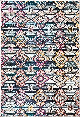 Safavieh Tapis Rectangulaire Moderne Chic Tressé Collection Madison Noir/Orange 122 x 183 cm