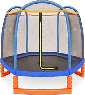 Best Choice Products Kids 7ft Round Mini Trampoline w/Safety Net and Metal Frame, Multicolor