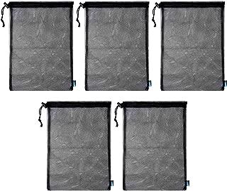 BCP 5pcs Nylon Mesh Storage Ditty Bag Stuff Sack for Travel & Outdoor Activity Mushroom Hunting, Foraging,15 x 10.75