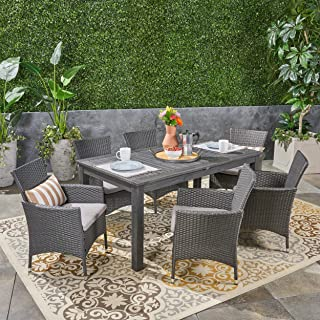 Great Deal Furniture Austin Outdoor 7 Piece Wood and Wicker Expandable Dining Set, Dark Gray and Gray and Silver