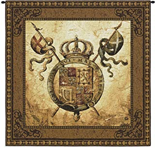 Terra Nova II by Liz Jardine | Woven Tapestry Wall Art Hanging | Old World Crest Regal Crown | 100% Cotton USA Size 44x44