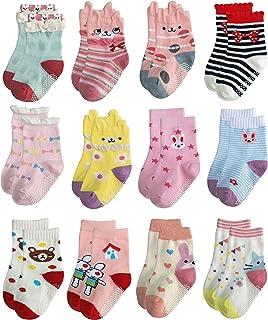 Non Skid Anti Slip Cotton Dress Crew Socks With Grips For Baby Infant Toddler Kids Girls