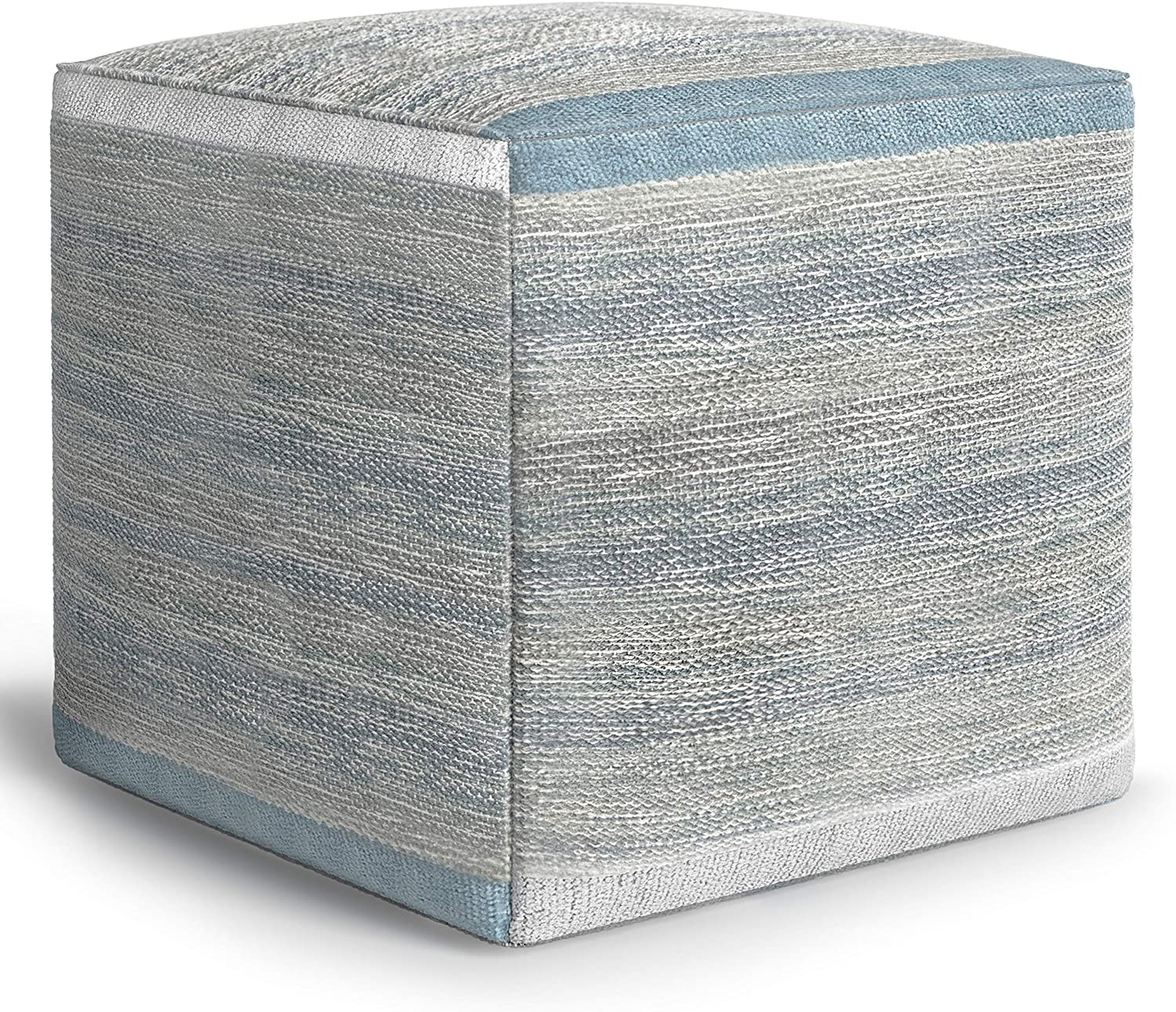SIMPLIHOME Naya Cube Pouf, Footstool, Upholstered in Patterned Blue Melange and Woven Cotton, for the Living Room, Bedroom and Kids Room, Transitional, Modern