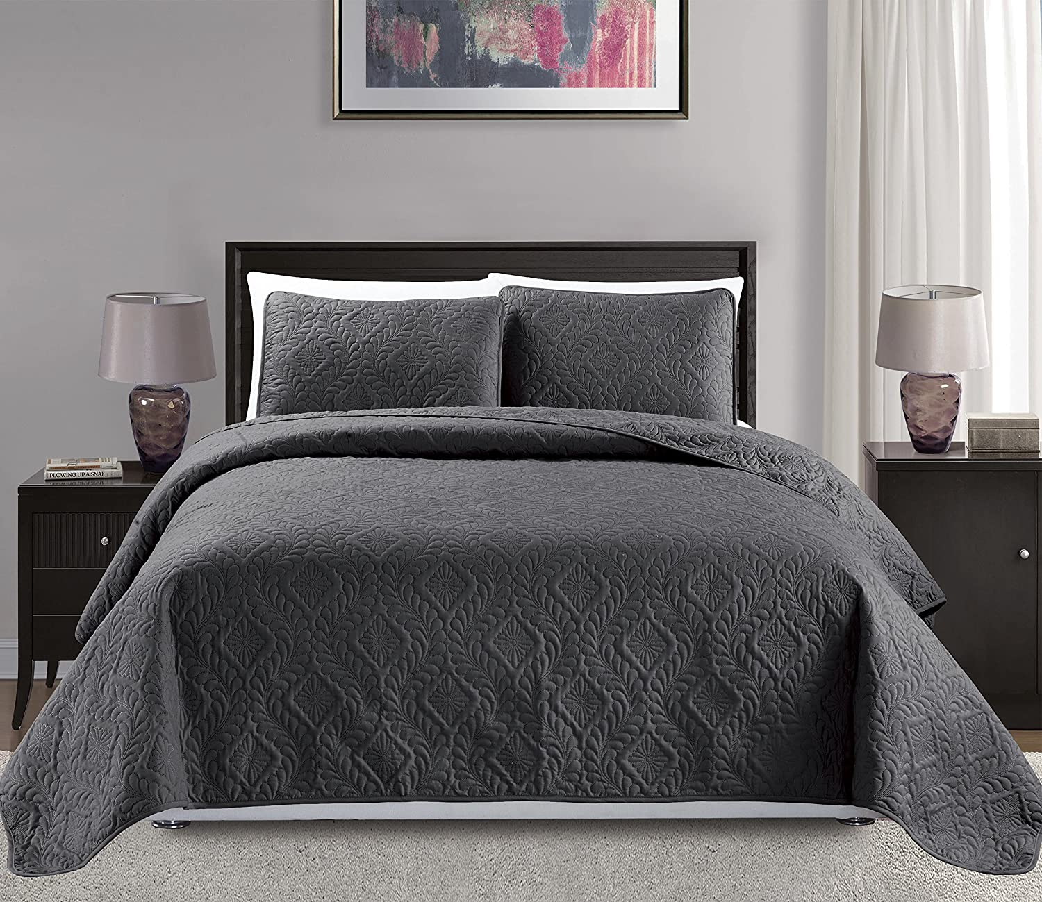 Mk Collection Diamond Bedspread Bed-Cover Solid Over Si Max 51% Nippon regular agency OFF Embossed