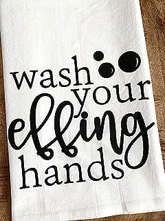 Funny Bathroom Hand Towel - Wash Your Effing Hands - Wash Your Hands - Half Bath Flour Sack Hostess Housewarming Gift