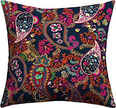 India House Outdoor//Indoor Square Pillow 17 sq Piped Faylin Coral