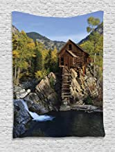 Ambesonne Lake House Decor Collection, Secluded Wooden Cabin in the Woods River Waterfall Forest Nature Mill Mountain Pine Trees, Bedroom Living Room Dorm Wall Hanging Tapestry, Muli