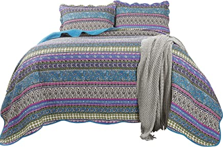 Chezmoi Collection Odette 3-Piece Boho Chic Blue Pink and Purple 100% Soft Cotton Bohemian Bedspread Quilt Set,  Queen Size