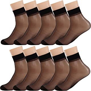 Women Sheer Socks 10 Pairs Ankle High Soft Crystal Silky Hosiery Office