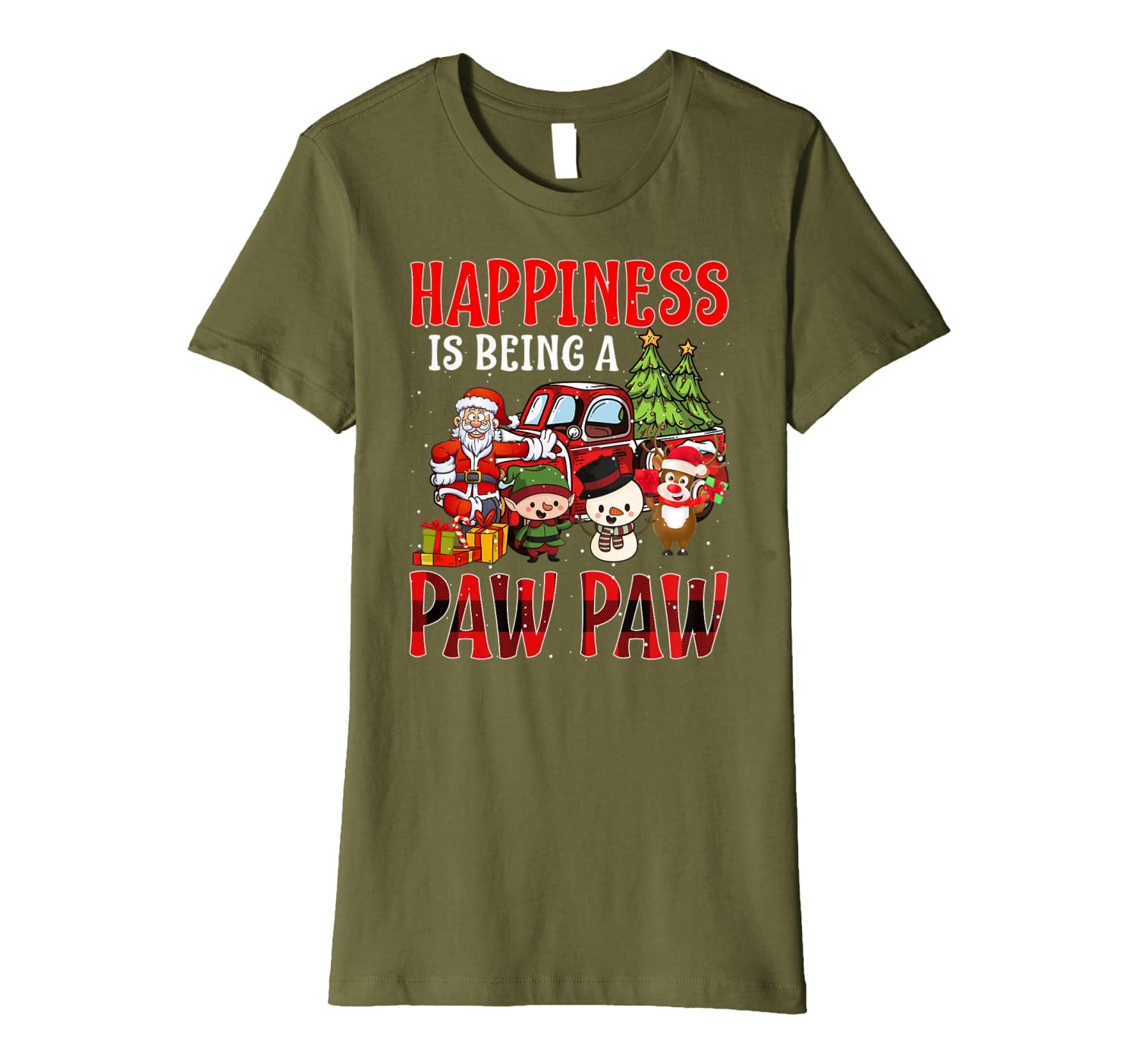 Happiness Is Being A Paw Paw Christmas Premium T-Shirt
