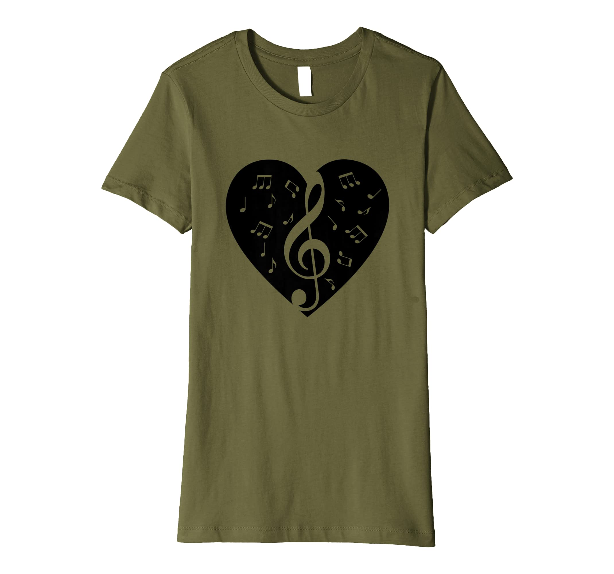 acf50abe5 Music Love Heart T-Shirt Musical Notes Clef Graphic Tee: Amazon.co.uk:  Clothing