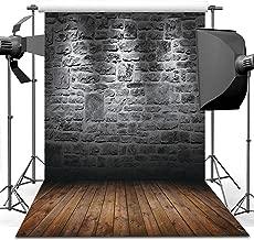 Dudaacvt Vintage Photography Backdrop Brick Wall & Dark Brown Wooden Floor Photography Studio Prop 8X8Ft MQ0040808