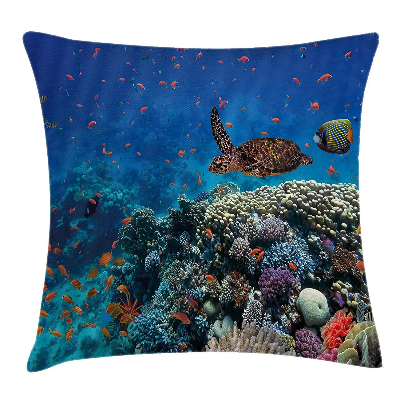 Ambesonne Ocean Decor Throw Pillow Cushion Cover, Exotic Fish and Turtle in Fresh Water on Stony Corals Bio Diversity Wild Life Photo, Decorative Square Accent Pillow Case, 20 X 20 Inches, Multi
