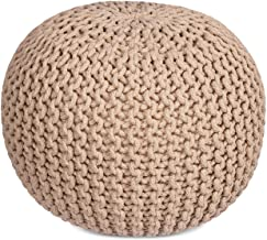 BIRDROCK HOME Round Pouf Foot Stool Ottoman - Knit Bean Bag Floor Chair - Cotton Braided Cord - Great for The Living Room, Bedroom and Kids Room - Small Furniture (Natural)
