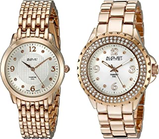 August Steiner Women's Rose Gold Tone Watch Set - Textured and white Mother of Pearl Diamond Dial with Crystal Bezel and B...