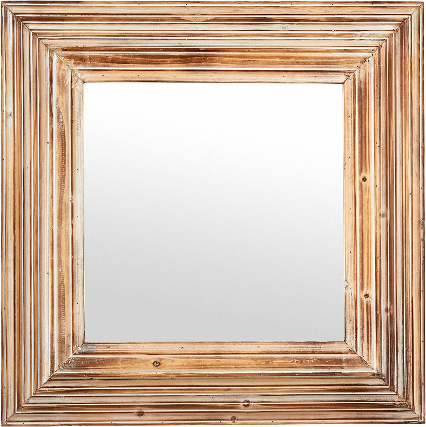 Stone & Beam Vintage-Look Square Mirror, 39.5  H, Tan and White