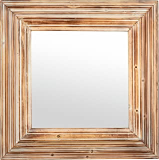 Stone & Beam Vintage-Look Square Hanging Wall Mirror, 39.5 Inch Height, Tan and White