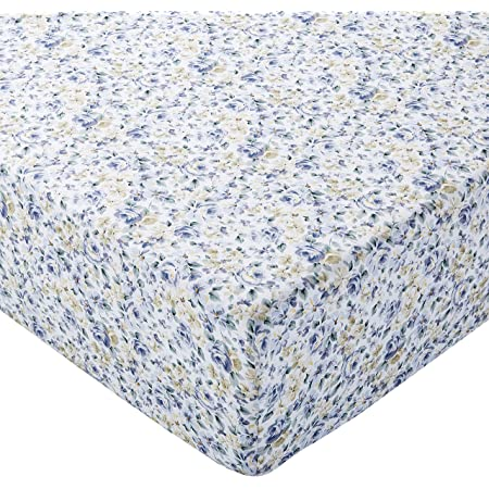 Amazon Basics Drap-housse en Microfibre Bleu Floral 160x200x30cm